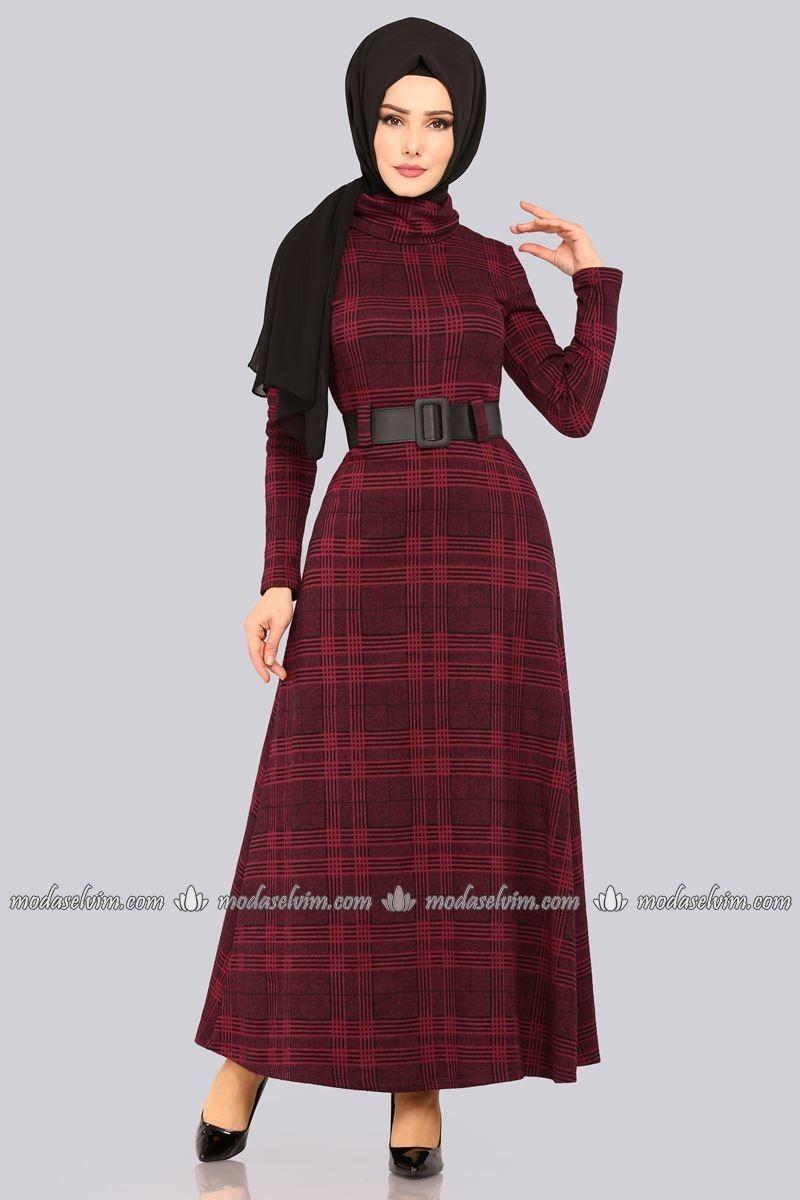 f9a768f70690c moda selvim Boğazlı Kışlık Elbise 5488MP186 Bordo | Elbiseler, 2019 ...