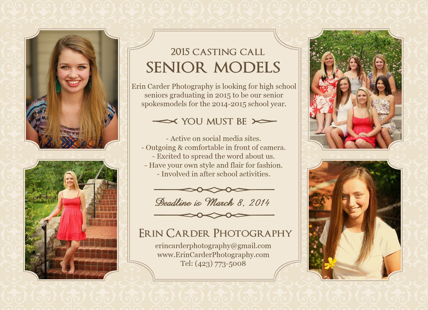 Calling 2015 Seniors: Erin Carder Photography is in need of high school seniors graduating in 2015 to represent our studio for the 2014-2015 school year. Find out more information at www.erincarderphotography.com