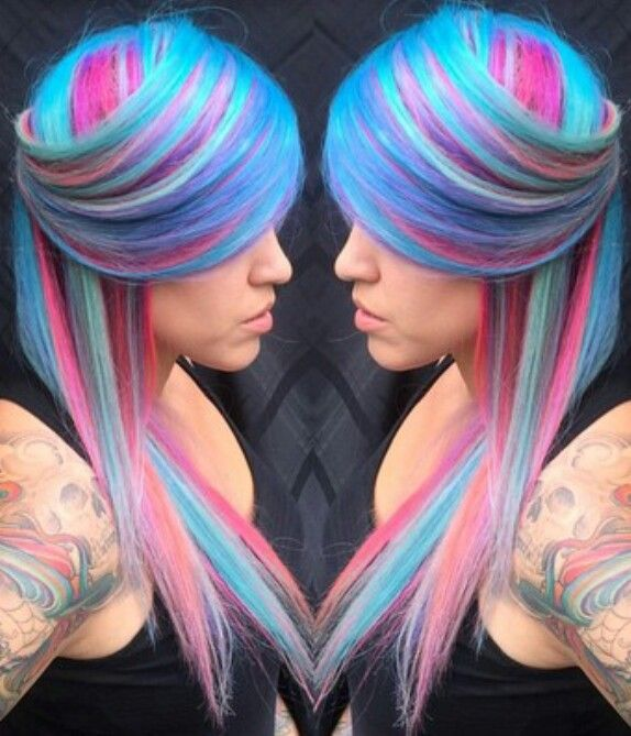 blue pink streak dyed hair crazy