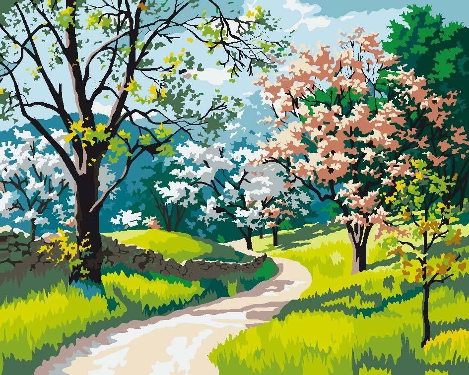 """16X20/"""" Flower Scenery Paint By Number Kit DIY Oil Home Decor Painting on Canvas"""