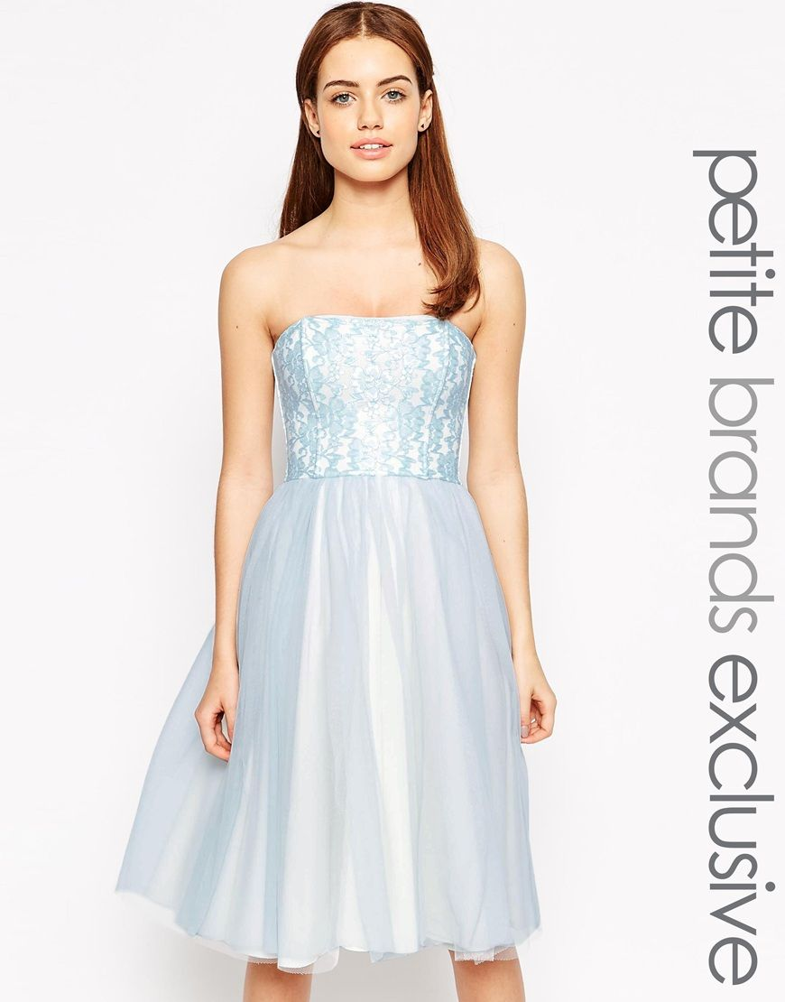 John zack petite bandeau midi prom dress with tulle skirt