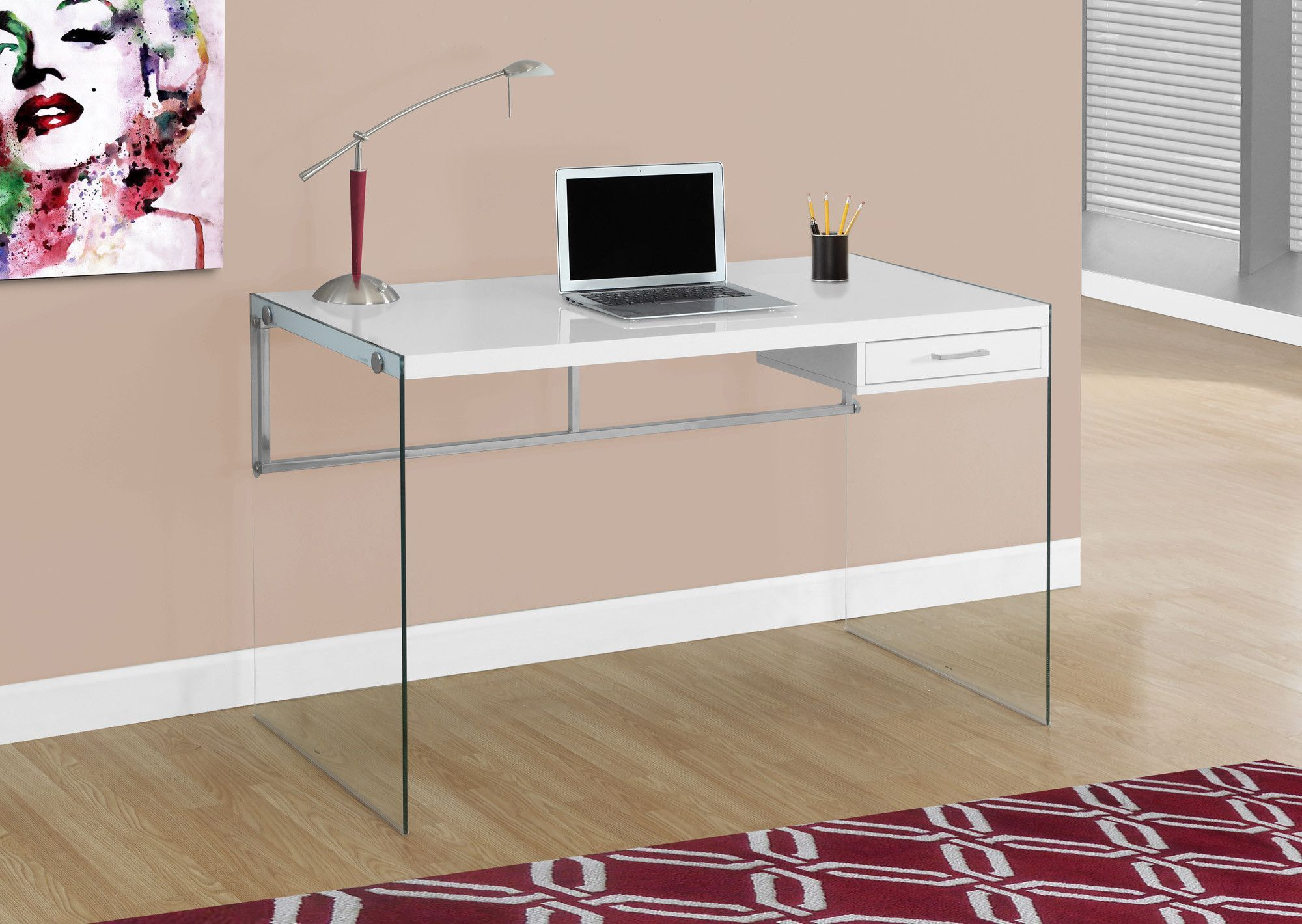 Modern 48 Glossy White Computer Desk With Glass Legs White