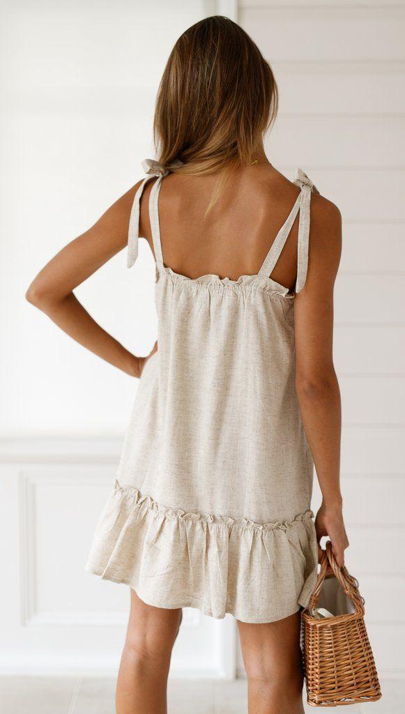 Photo of Caris Ivory Tie Shoulder Summer Dress