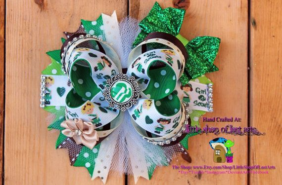 Girl Scout theme inspired deluxe hair bow by LittleShopOfLostArts