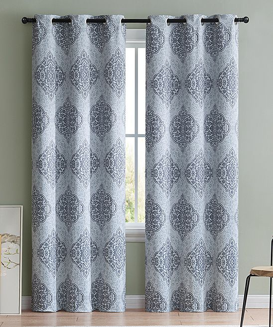 Gray Damask Thermal Blackout Curtain Panel Set Of Two Curtains