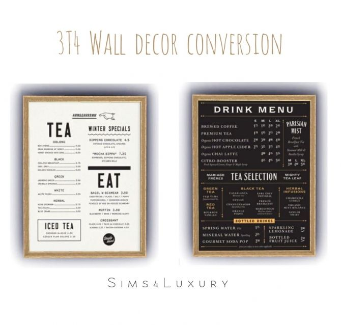 3T4 Wall menu decor at Sims4 Luxury via Sims 4 Updates  Check more at http://sims4updates.net/objects/decor/3t4-wall-menu-decor-at-sims4-luxury/