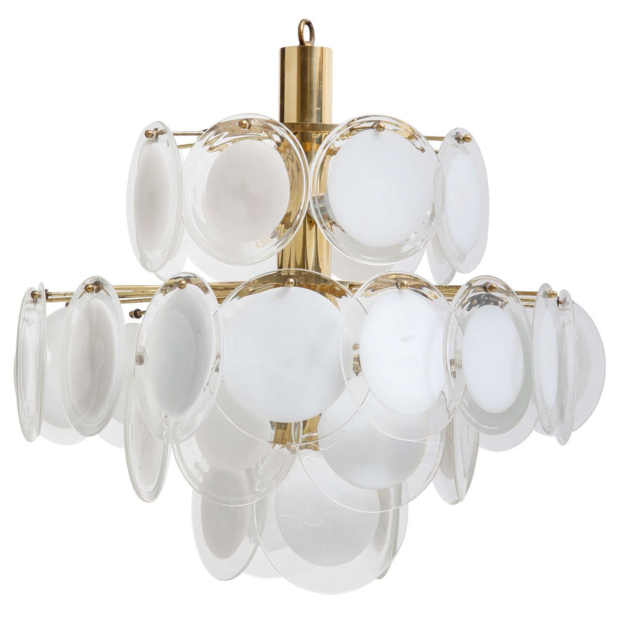 Vistosi Disc Chandelier Murano Italy