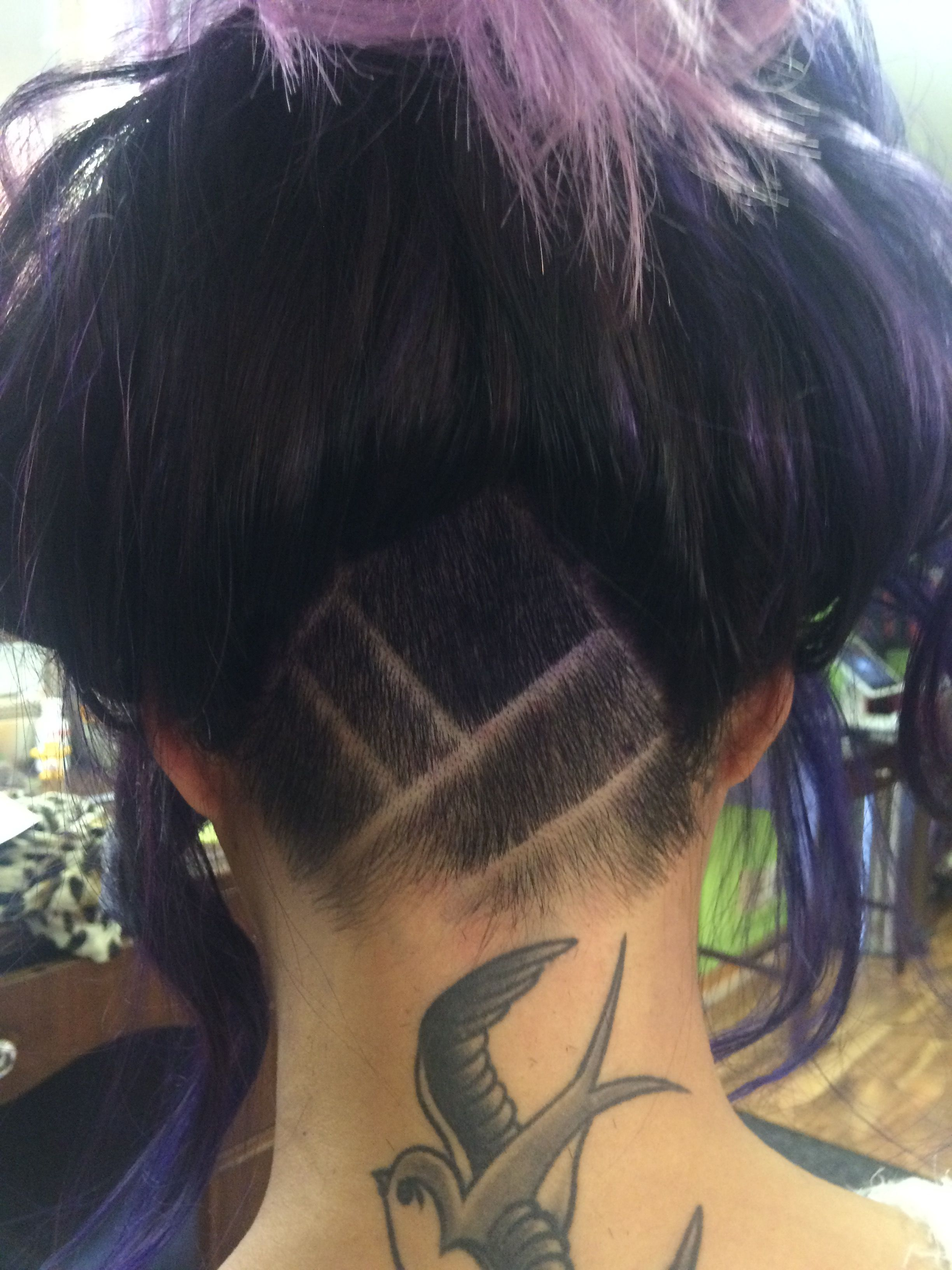 undercut shaved hair with design