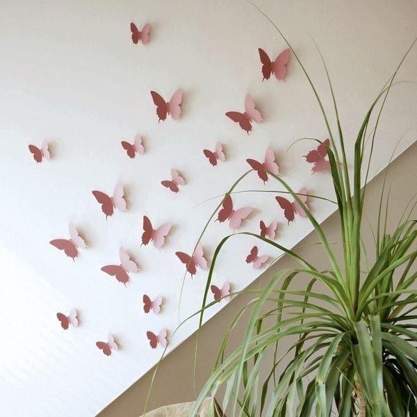12 Schmetterlinge Rosa 3d Wandtattoo 12 Stk Papir Kepek