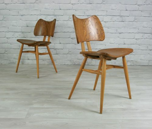 6 ERCOL RETRO VINTAGE ELM U0026 BEECH MID CENTURY BUTTERFLY CHAIRS 50s 60s