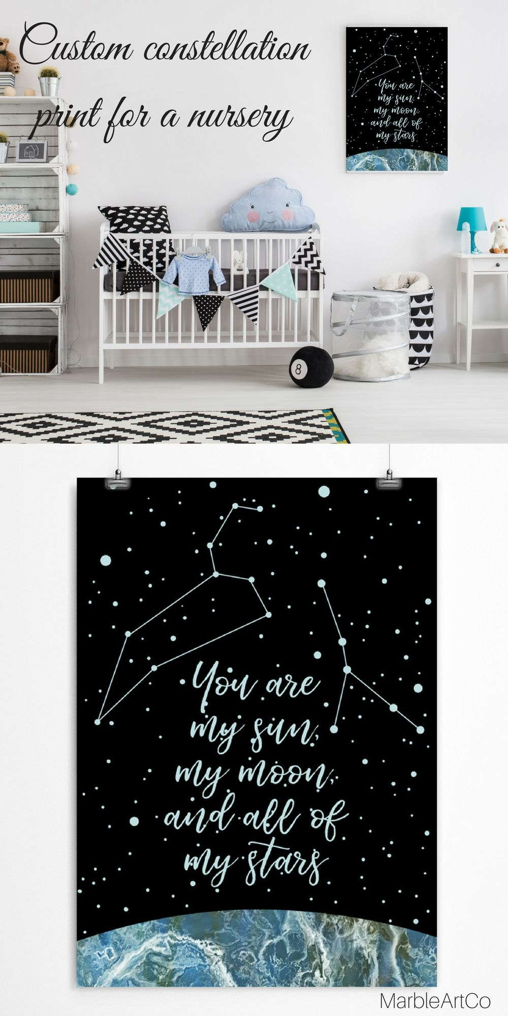 Personalized Custom Constellations Poster, 8th Anniversary Gift ...