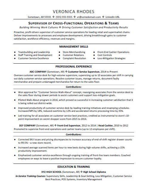 Supervisor resume sample Pinterest