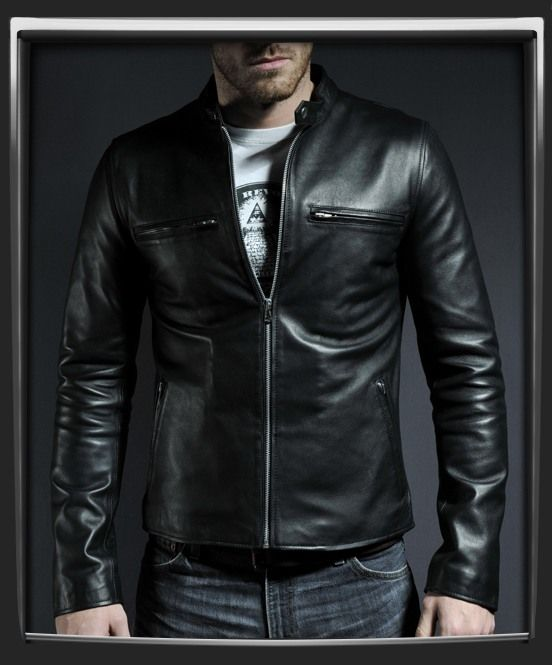 0d42cb13870 Cafe Racer 100% black Italian nappa leather jacket.
