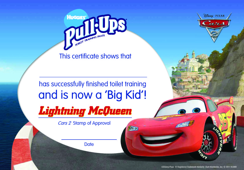 Cars 2 themed toilet training certificate - download, print and give