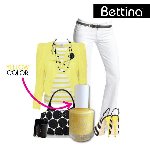 """El amarillo está de moda, y más cuando lo combinamos con negro, blanco o gris. Prueba nuestro #Bettina Nail Enamel en color """"Yellow"""""""