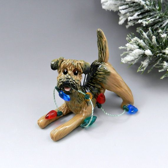 Border Terrier Christmas Ornament Figurine Lights Porcelain