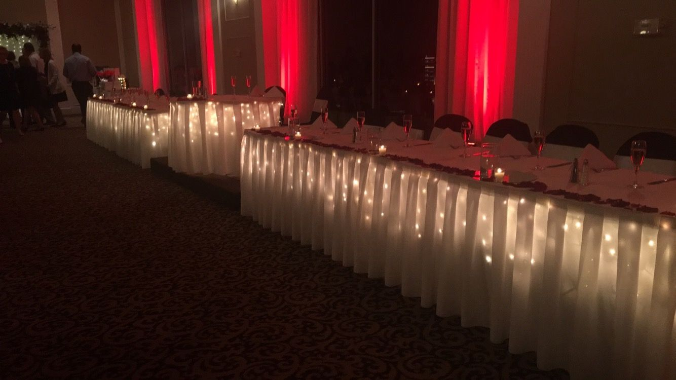 Backlighting is only $95 and includes lights under the skirts of the head table, cake table, & gift table! Makes a big difference!