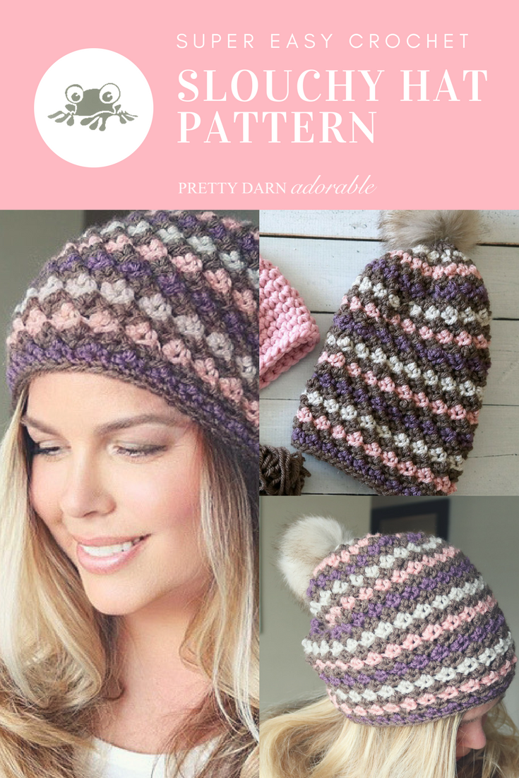 f22d56df1b0 The Cumberland Slouchy Hat is an Easy Crochet Pattern that uses a  combination of single crochet and triple crochet. Pattern includes sizes  for your whole ...