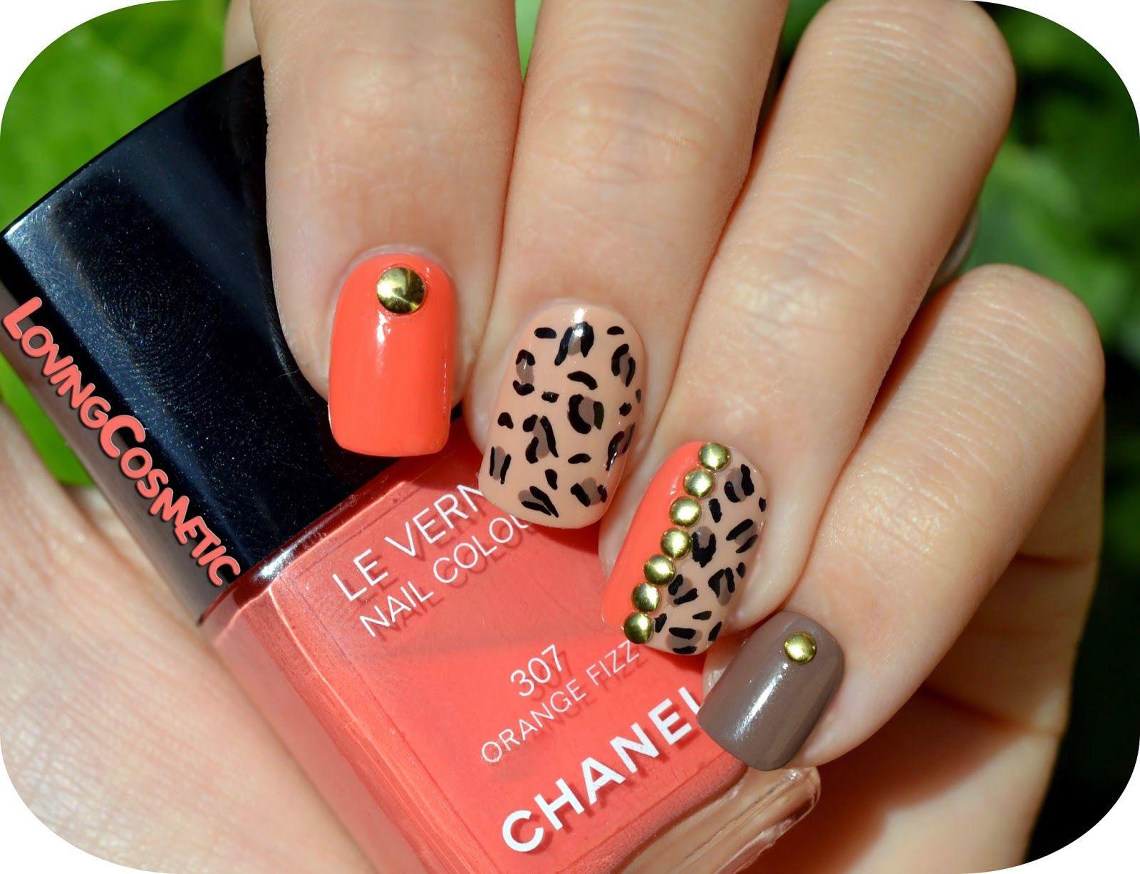 Nail Art Nail Diseño Uñas Mano Alzada Animal Print Chanel Orange