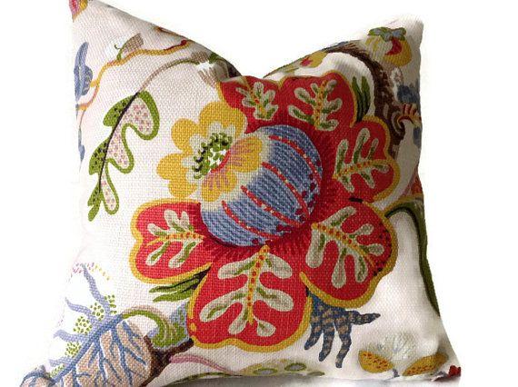 Floral Pillow Kravet Pillow Red Green Yellow Blue Tan Pillow Throw Pillows Decorative Pillow Cover Lumbar Pillow Floral Pillows Kravet Pillows Pillows