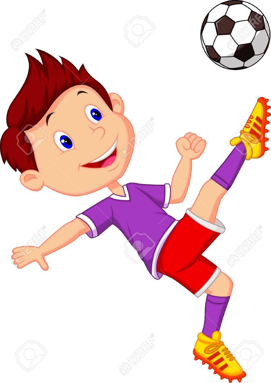 Nino De Dibujos Animados Jugando Al Futbol Ilustraciones Vectoriales Clip Art Vectorizado Libre D Dibujo De Ninos Jugando Ninos Dibujos Animados Ninos Jugando