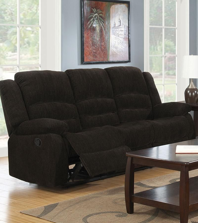Superbe Contemporary Style Chenille Fabric Upholstered Motion Sofa, Chocolate Brown    601461