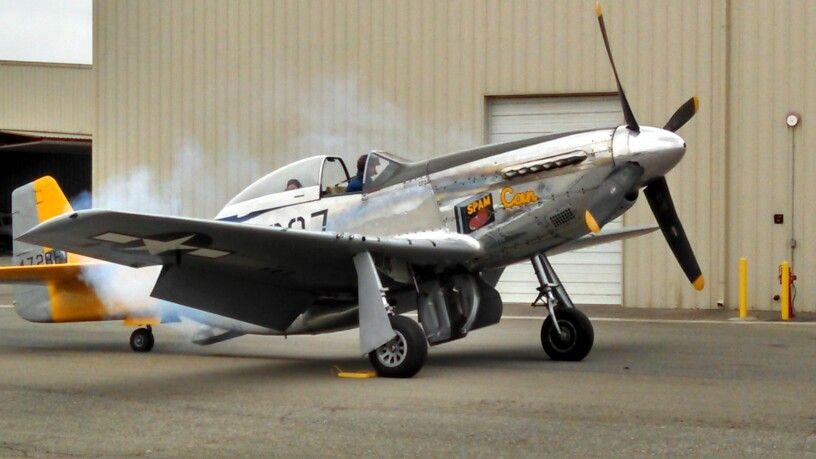 """P-51D Mustang """"Spam Can"""" firing up."""