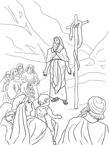 Moses And Brazen Serpent Coloring Page Bible Coloring Pages