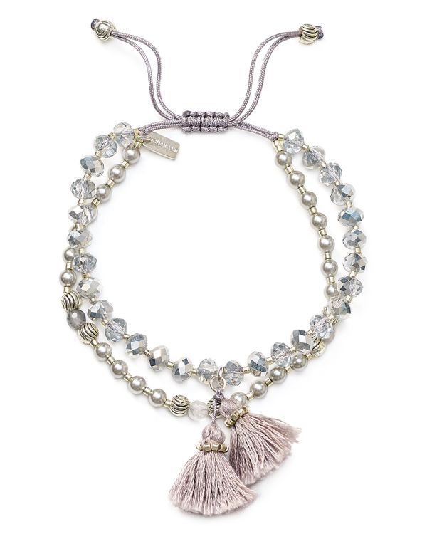 Chan Luu Swarovski Crystal Beaded Tassel Bracelet