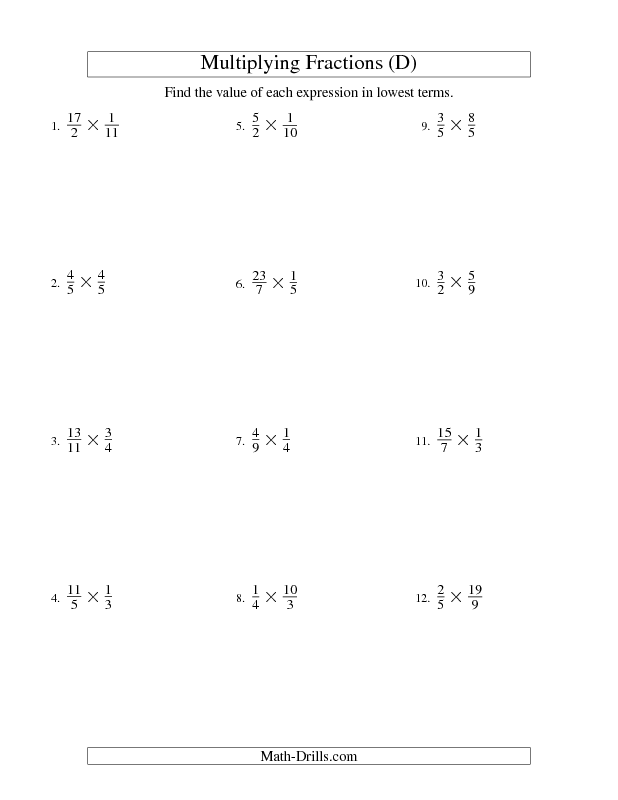 Fractions Worksheet Multiplying and Simplifying Proper and – Multiply Fractions Worksheet