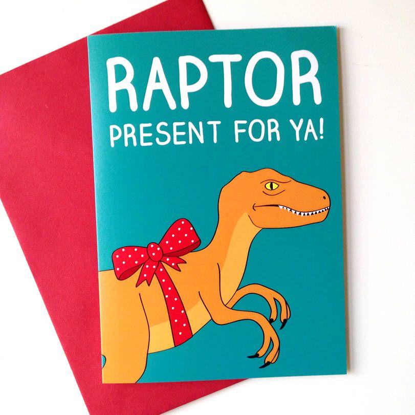 Dinosaur birthday card raptor christmas cards kids