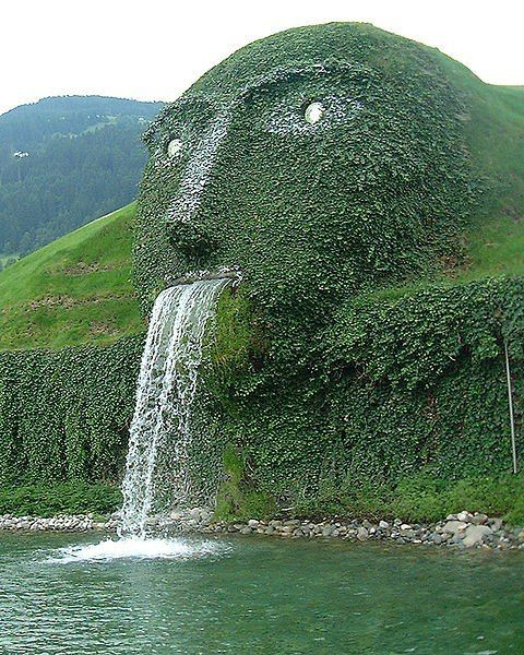 This fountain forms the entrance to the headquarters in Wattens, Austria of Swarovski Crystal.