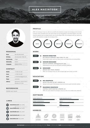 mono resume template by wwwikonome 3 page templates 90 icons adobe indesign illustrator and photoshop files resume template design