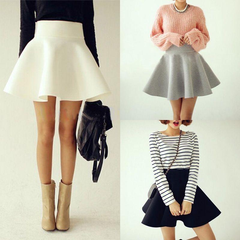 0c872704e8e Vintage Women Stretch High Waist Short Plain Skater Flared Pleated Mini  Skirt
