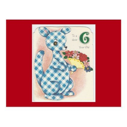 Vintage 6 Year Old Happy Birthday Kangaroo Postcard Birthday