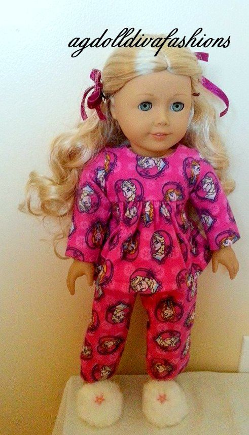 5eb9ead8ef0 American Girl Doll Flannel Babydoll Style Pajamas Slippers Barrettes Frozen  Fever Movie comes out March 13th
