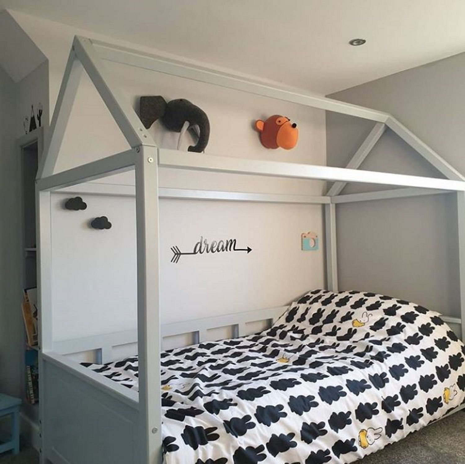 Kids House Bed Light Grey House Frame Bed House Beds For Kids