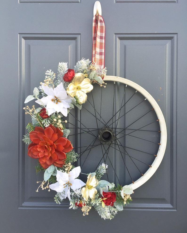 Bike Wheel Wreath Christmas Wreath Door Hanger Christmas Etsy In 2020 Christmas Door Hanger Christmas Wreaths Wreaths