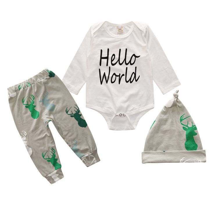 02e01cb9e Baby Boy Clothes Sets 3PCS Hats Rompers Pants Newborns Infant ...