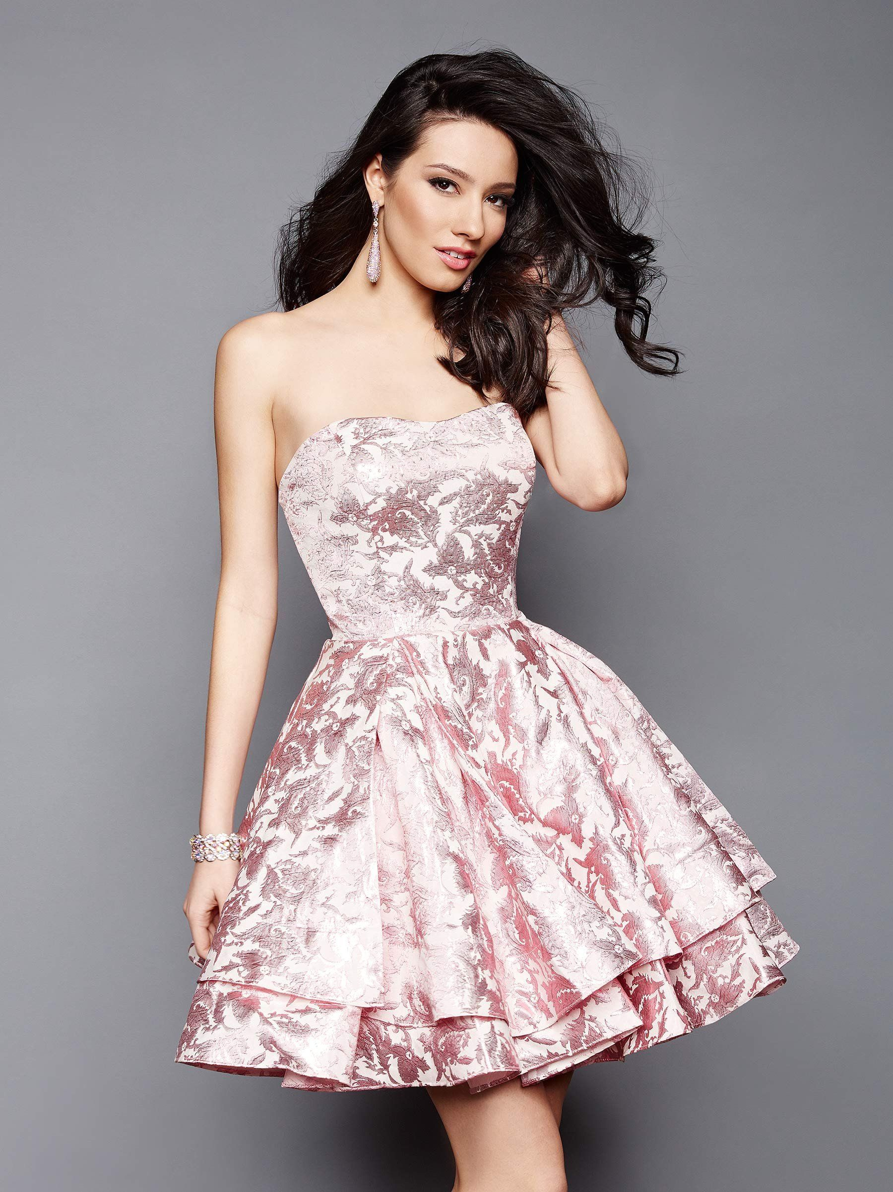 7ddbf51298a Clarisse 3310 Pink Strapless Brocade Homecoming Dress