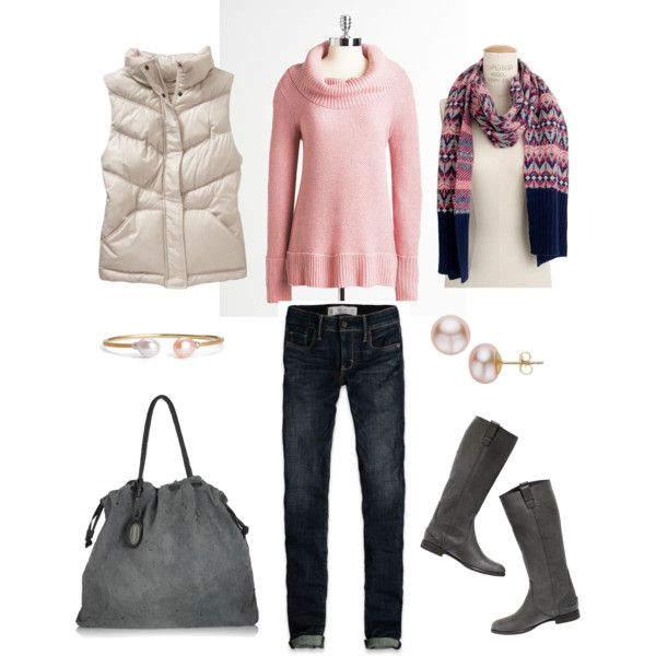 Pink and Gray, created by #bluehydrangea on #polyvore. #fashion #style Calvin Klein Old Navy