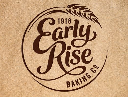 EARLY RISE BAKING COMPANY LOGO BOUTIQUE BAKERY LOGO. TYPOGRAPHY IDENTITY BRAND DESIGN BREAD DUBBO NSW. CRAFT CRAFTED ARTISAN. LETTERING DESIGN.