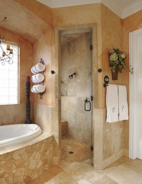 Very close to what we have. Platform tub-faux venetian plaster ...