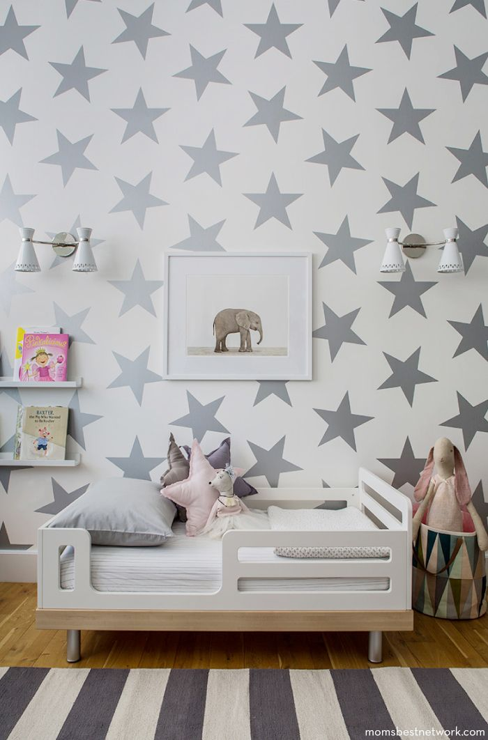 Good Silver Star Wallpaper, Elephant Photo, Gray Striped Rug // Toddler Room
