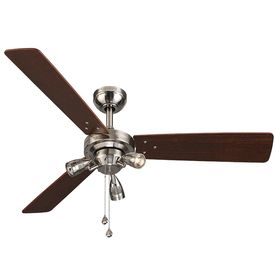 Shop Harbor Breeze Exocet 48 In Brushed Nickel Indoor Downrod Or Close Mount Ceiling Fan With Light Kit 3 Blade Ceiling Fan With Light Ceiling Fan Fan Light