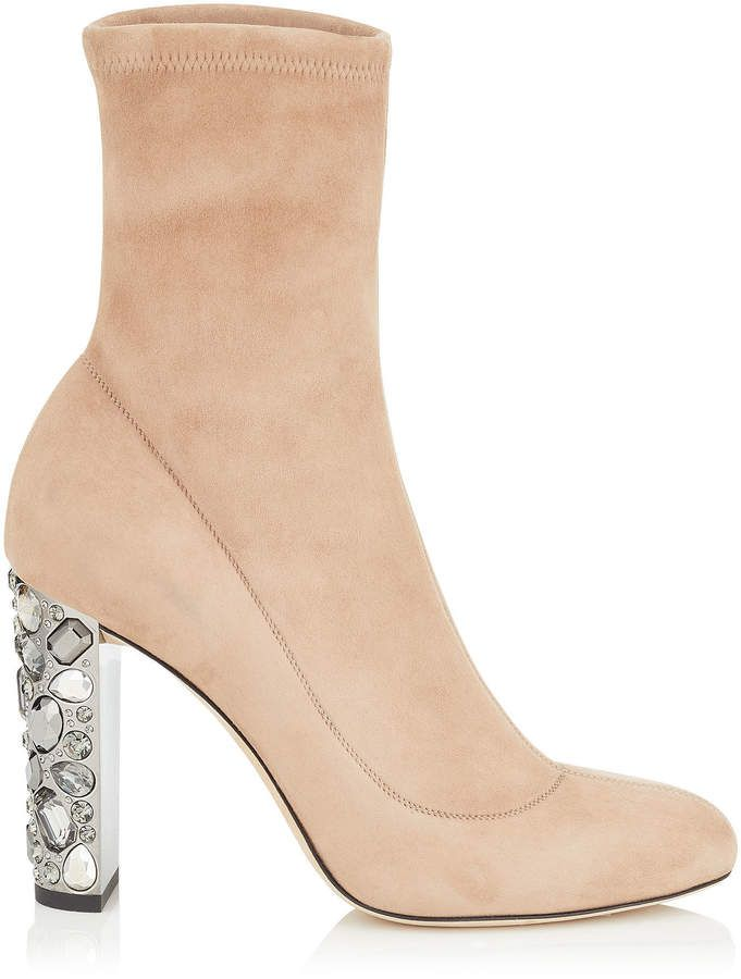 c817f6446fc Jimmy Choo MAINE 100 Ballet Pink Stretch Suede Booties with Metallic  Embellished Heel