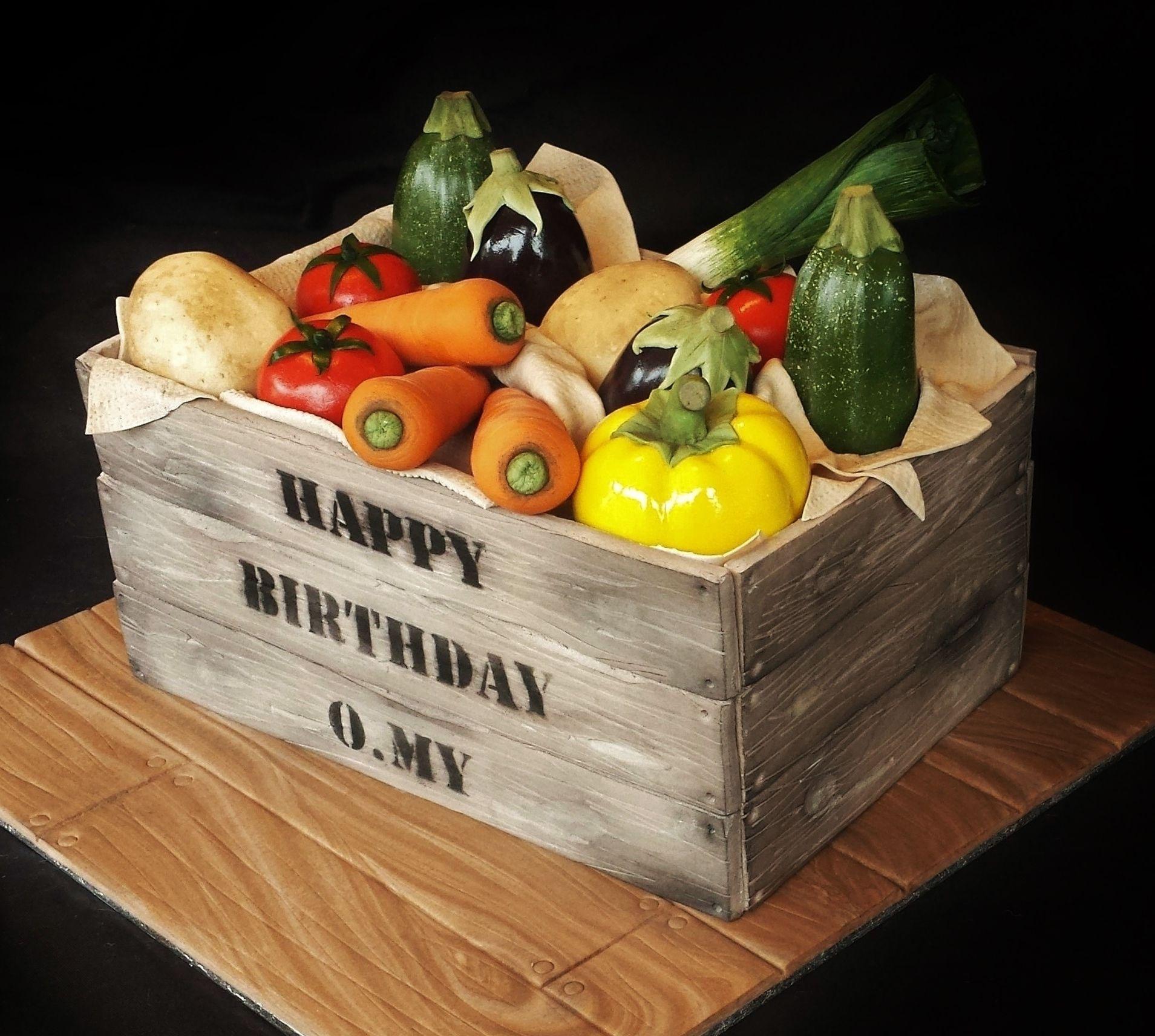 Realistic Vegetable Crate Cake   Vegetable cake, Vegetable ...