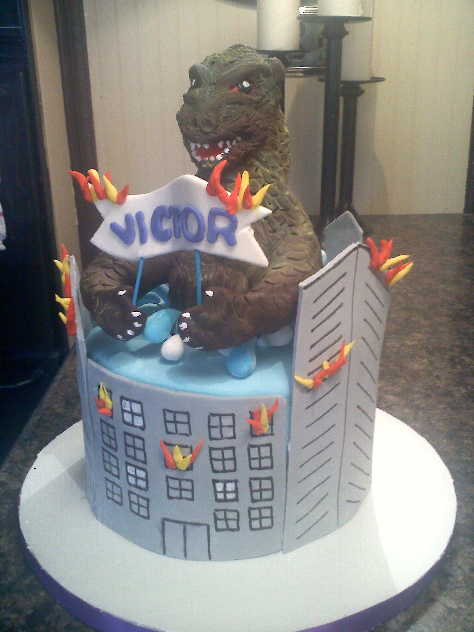 Godzilla Cake My Cakes Godzilla Birthday Godzilla