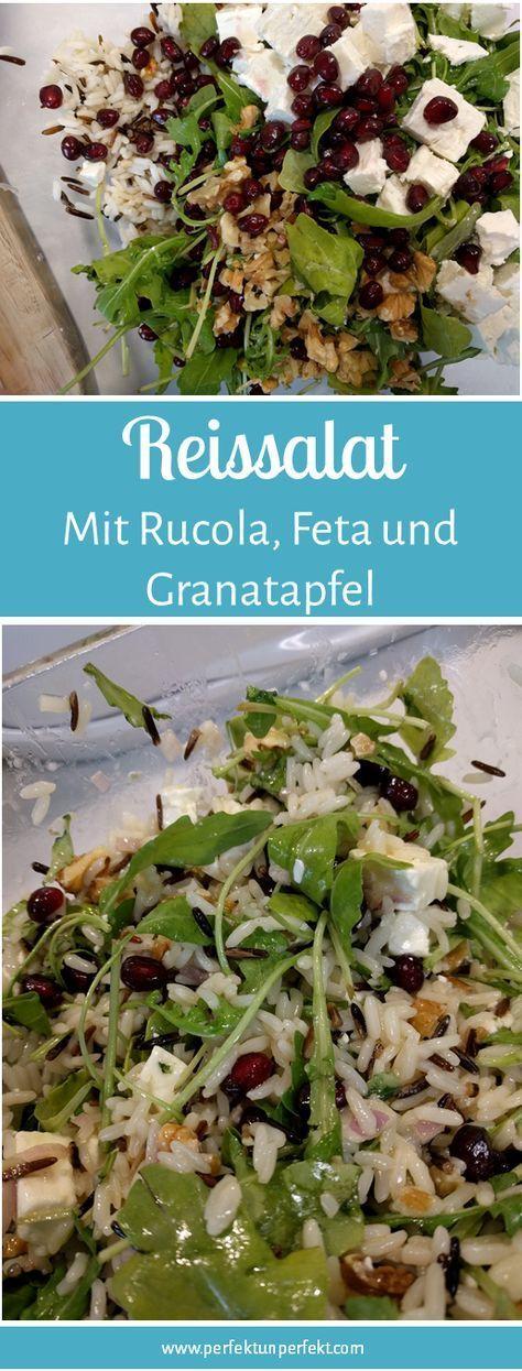 Reissalat, Rucola, Granatapfel, Walnüsse, Herbst, schnell, einfach, Feta, Wildr…