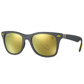b1c84ab1d69 Ray Ban RB4195M Scuderia Ferrari Collection sunglasses – Grey  Black Frame    Gold Mirror Chromance Lens